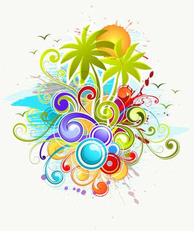 fiesta en la playa: Fondo abstracto con palmeras