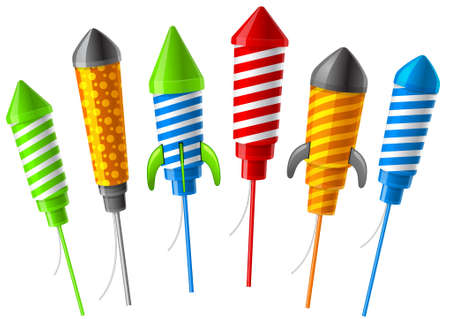 colourful fire: Rockets for fireworks.  Illustration