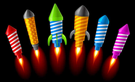 illustration of rockets.Fireworks Stock Vector - 8140132