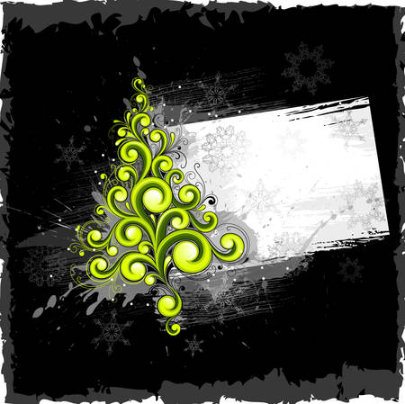 holiday celebrations: Dark abstract background with a Christmas tree Illustration
