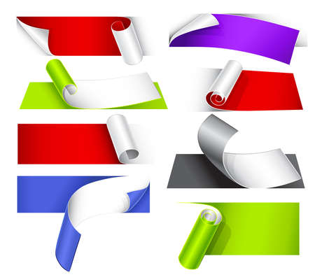 curled up: Collection of colorful papers with a curl Illustration