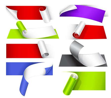 curled edges: Collezione di carte colorate con un ricciolo Vettoriali