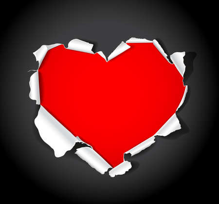 ripped paper: Paper heart. Vector illustration