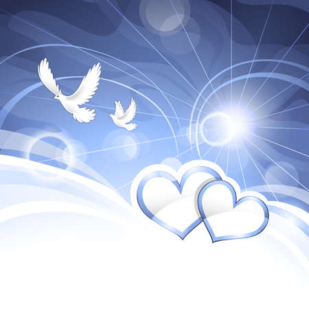 pigeons: Arri�re-plan de c?ur Illustration