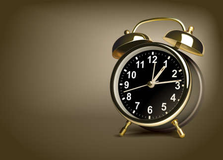 clockwise: Alarm clock on a brown background. Vector illustration