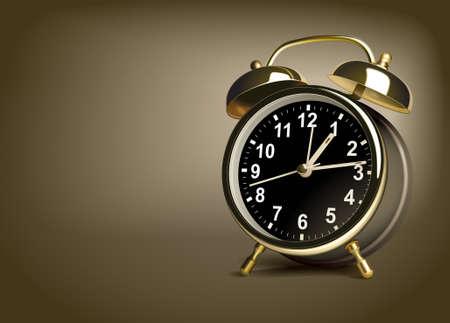 despertador: Reloj de alarma sobre un fondo de color marr�n. Ilustraci�n vectorial