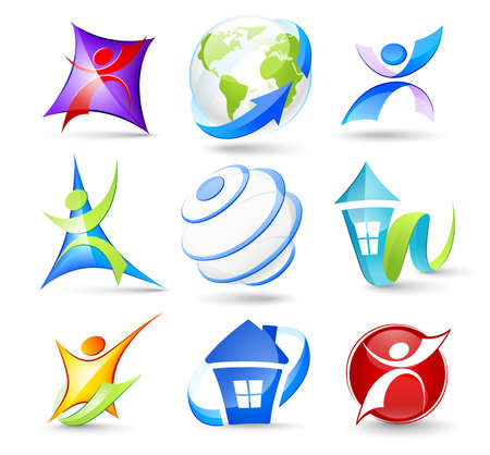 logotipo abstracto: Colecci�n de iconos de color