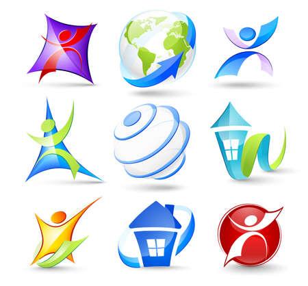 wereldbol groen: Verzameling van kleur-icons