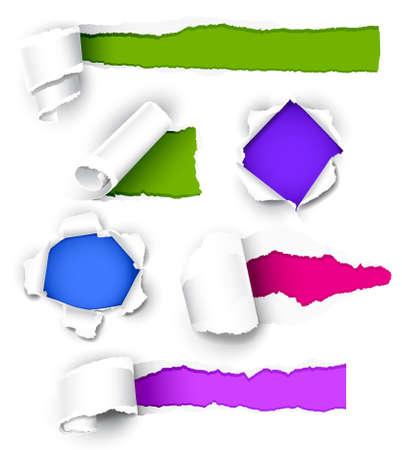gaten: Collectie van gekleurd papier. Vectorillustratie Stock Illustratie