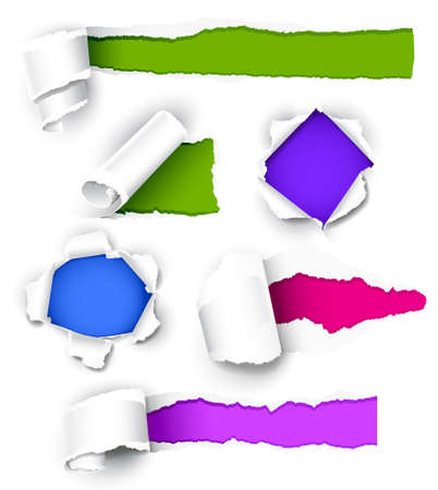 ripped paper: Collection of colored paper. Vector illustration