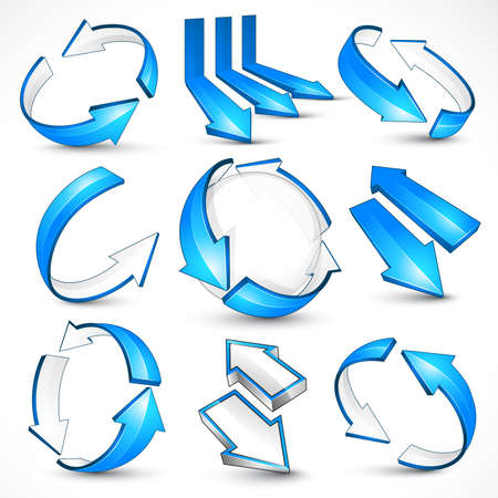 Blue arrows. Vector illustration Stock Vector - 9380649