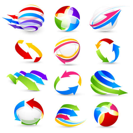 logo element: Collection of colour arrows Illustration