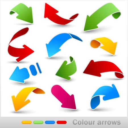 Colección de flechas de color. Ilustración vectorial.