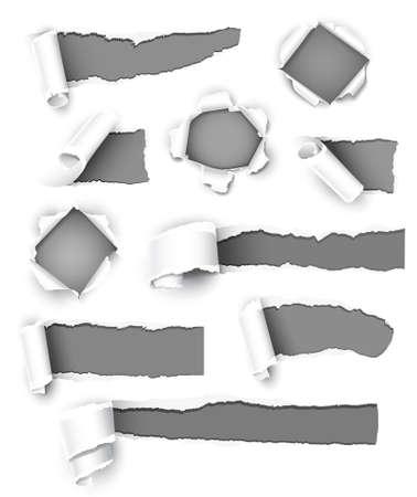 gaten: Inzameling van grijs papier. Vector illustratie