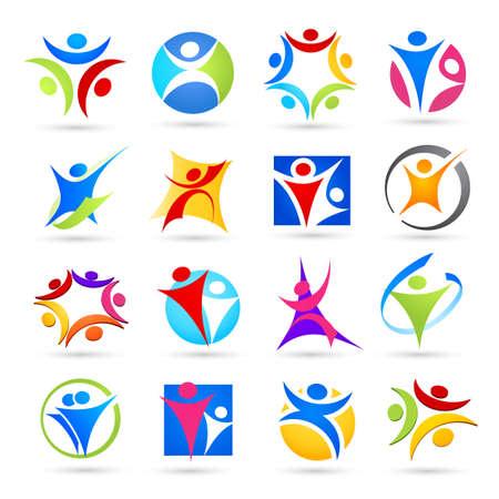 manos logo: Colecci�n de iconos de personas abstractas