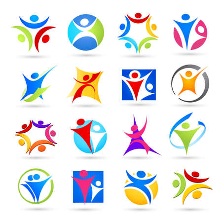 sport logo: Collection of abstract people icons