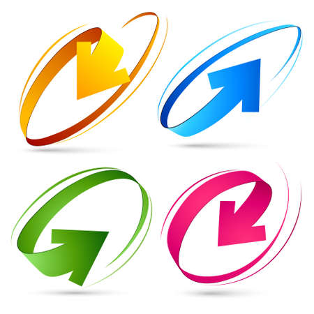 internet logo: Collection of colour arrows Illustration