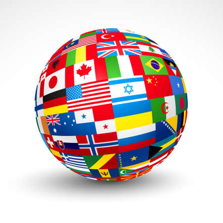 World flags sphere.  Illustration
