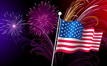 continente americano: Fuegos artificiales y una bandera estadounidense.