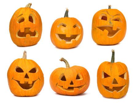 carving: Carved Jack-o-lanterns lit for Halloween. Isolated on white Stock Photo