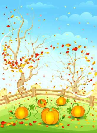 fall harvest: Autumn landscape. Vector illustration. Illustration