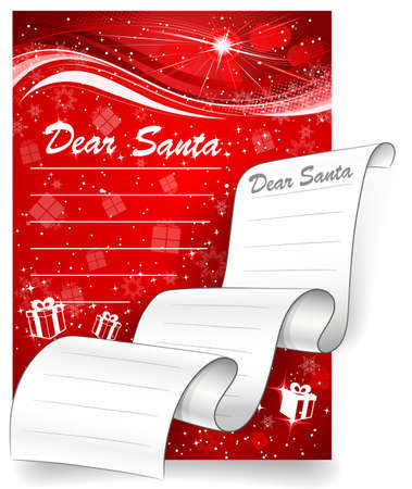 Letter to Santa. Christmas background Vector
