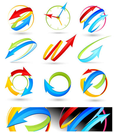 green arrow: Collection of colour arrows Illustration