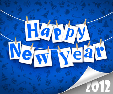 Congratulatory text Happy New Year. Vector