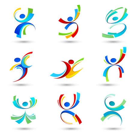 manos logo: Deportes iconos de las personas Vectores