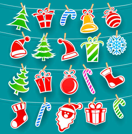 Background with Christmas icons Vector