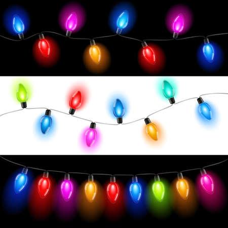 luz: Las luces de Navidad Vectores