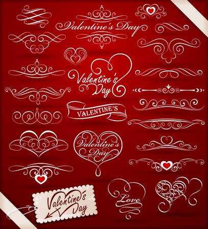 Decorative elements on Valentines Day Illustration