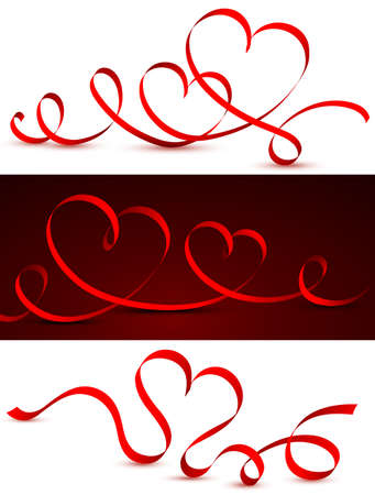 red hearts: Red tape in the form of hearts. Vector illustration