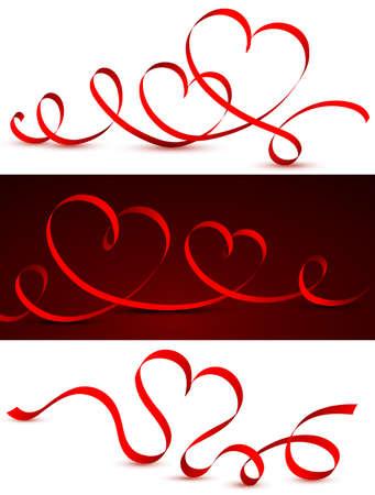 Cinta roja en forma de corazón. Ilustración vectorial