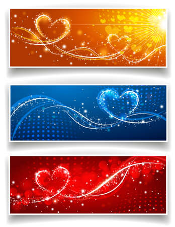 glitter hearts: Banners on Valentines Day