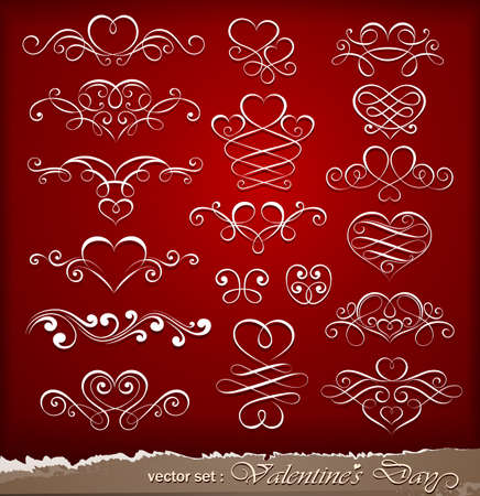 Decorative elements on Valentine Vector