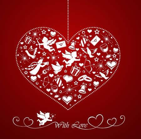 amor: Herz mit Reihe von Icons Illustration