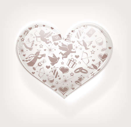 Heart of glass with set of icons Иллюстрация