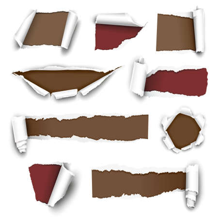 paper curl: collection of torn paper. Vector illustration