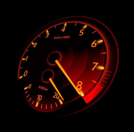 racecar: Tachometer. Vector illustration