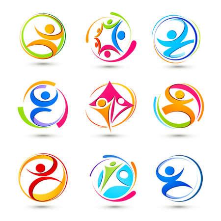 equipe sport: Des ic�nes du sport de personnes Illustration