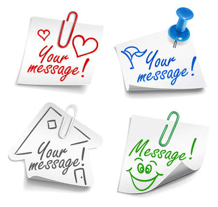 sticker: Paper notes with push pin and paperclip Illustration