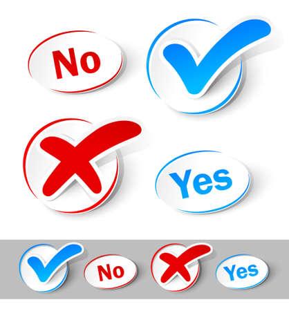 Überprüfen Sie Ja und Nein zu markieren