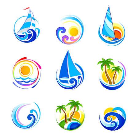 windsurf: colección de iconos del mar y las vacaciones de verano Vectores