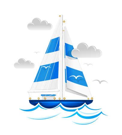 cruising: Sailing nave. Vettoriali