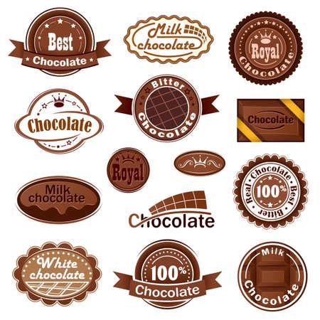 Juego de insignias y etiquetas de chocolate