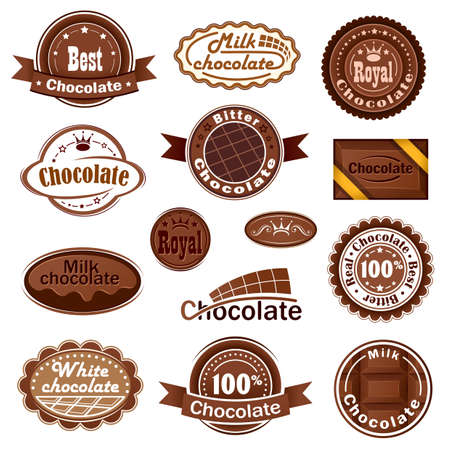 confection: Set of chocolate badges and labels Illustration