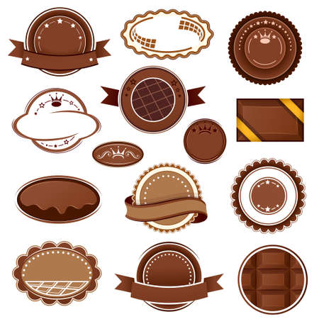 chocolate cookie: Juego de insignias y etiquetas de chocolate Vectores