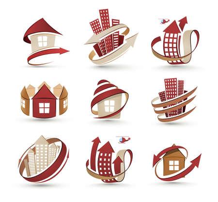Una collezione di icone di edifici. Vector illustration