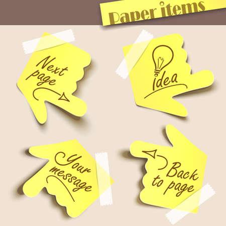 Vector illustratie notitie papier. Bericht label. Vector Illustratie